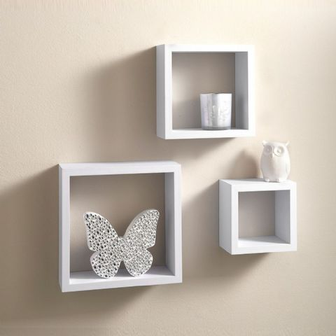 Set of 3 White Storage Cube Display Shelves 25cm
